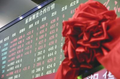 """昨天,中国原油期货在上海期货交易所正式上市交易,首日交易迎来""""开门红""""。陈正宝刘歆摄"""