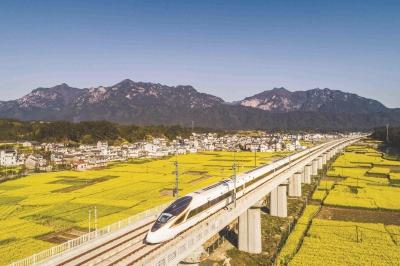 杭黄高铁徽州绩溪段,复兴号驶过油菜花海和徽派建筑群。VCG