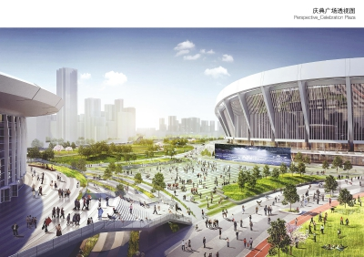体育公园广场透视图。
