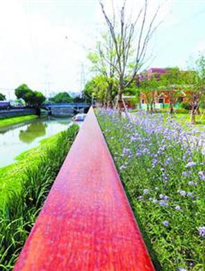 生态滨水公园彭越浦滨河绿地开放