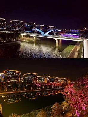 虹桥又添新景观 空中云廊亮灯