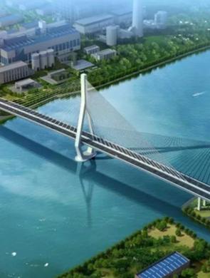 昆阳路越江大桥已完成主塔塔冠浇筑