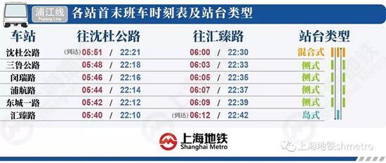 图说:浦江线首末班车时刻表