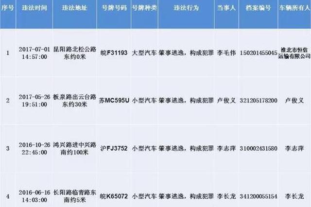 上海警方公布今年首批终生禁驾名单 涉及4名驾驶人