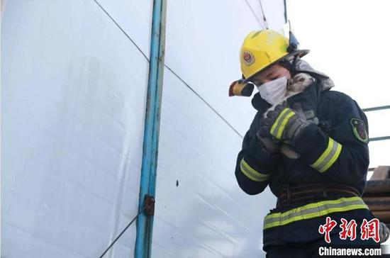 3月18日,山西太原富力天禧城附近工地彩钢板房起火,消防员现场搜救出一只受伤小狗。 李晋丰 摄