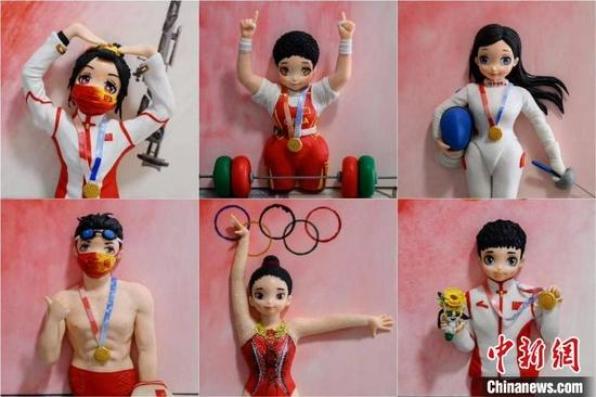 山西一老师手捏软陶Q版奥运冠军:希望送给他们