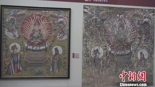 展览展出的稷山青龙寺壁画的前后对比图。 王惠琳 摄