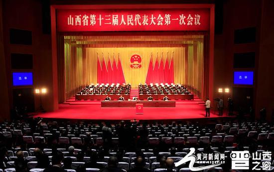 1月30日,省十三届人大一次会议举行第四次全体会议。图为大会会场。