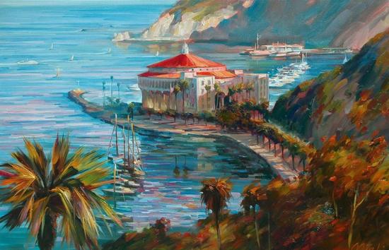 红房顶,布面油画,61x91cm