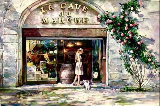 法国卖酒小店,布面油画,61x91cm