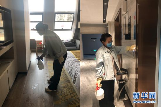 16点,李华结束工作回到休息地点,但她还不能休息。她和同组医护人员会轮班对自己居住的房间、公共电梯等进行消毒,做好全方位保护,这样才有能力更好保护病人。(受访者供图)新华网 发