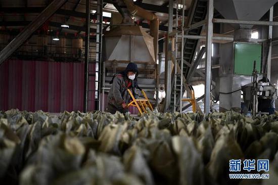 11月7日,山西省大同市浑源县德诚通达科技发展有限公司的工作人员在运送以秸秆为原料加工的生物质燃料。 记者 杨晨光 摄