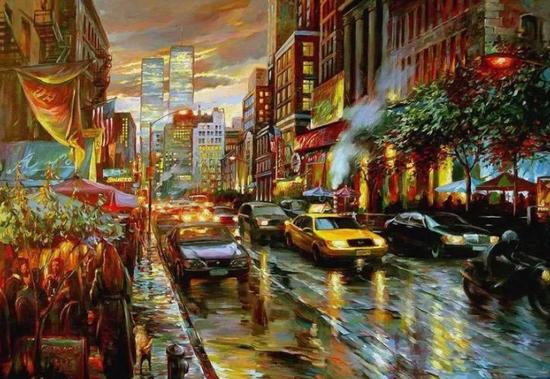 纽约日暮,布面油画,76x102cm