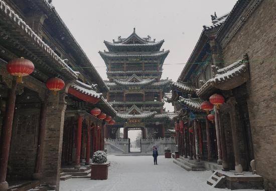 雪后的榆次老城。(晋中市委新闻中心 供图)