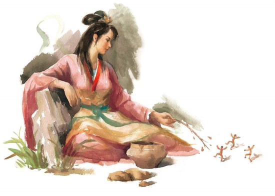 """在山西临汾吉县的柿子滩发现了表现生殖崇拜的女娲岩画,万荣后土庙又是""""女娲抟土造人""""的圣地,这不能不说是一种巧合。无论是抟土造人也好,是女娲、伏羲兄妹成婚也好,至少有一件事是可以肯定的,那就是女娲造人的神话与山西有着千丝万缕的联系。"""