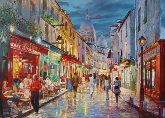夜幕下的蒙马特,布面油画,76x102cm