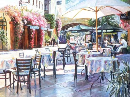 圣塔芭芭拉街角的咖啡,布面油画,61x76cm