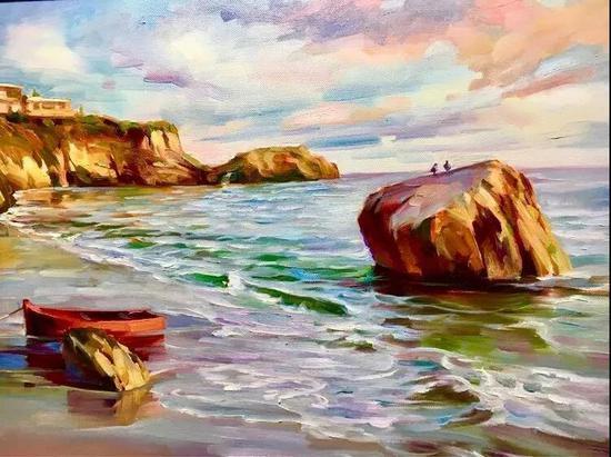 拉古那海滩,布面油画,41x51cm