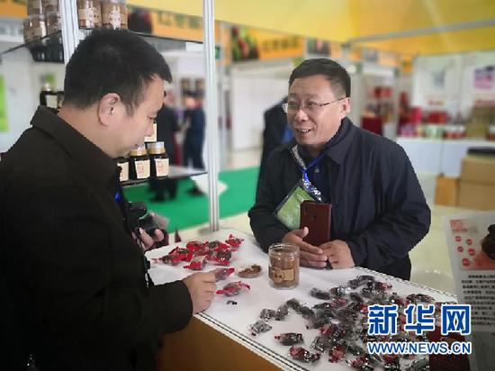 展商在向参会者介绍红枣产品。