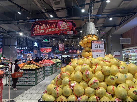 备战双十一 美特好超市滨河店实景
