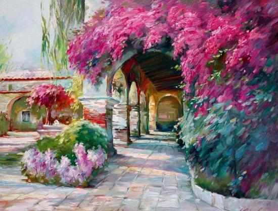 老教堂的阳光,布面油画,61x76cm