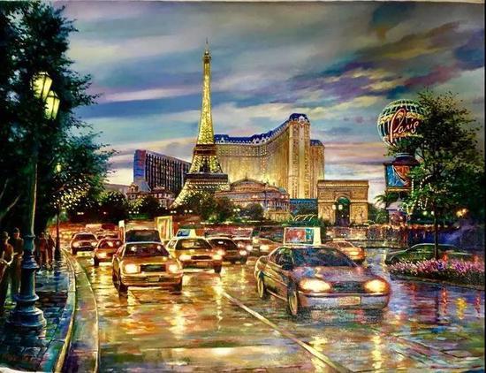 赌城之夜,布面油画,76x102cm