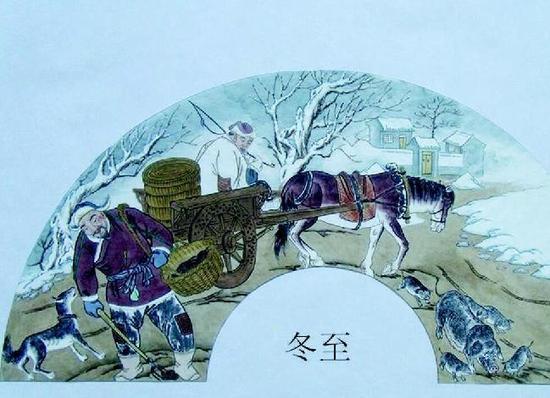 24节气申遗国画-农村画匠绘制 二十四节气 农耕文化生活图