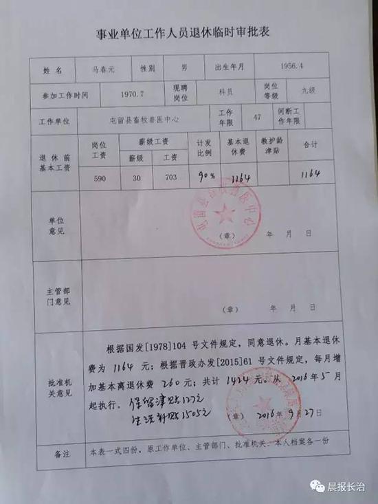 图为退休临时审批表