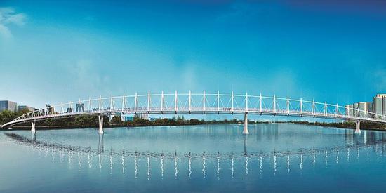 汾河三期大型景观人行桥设计图
