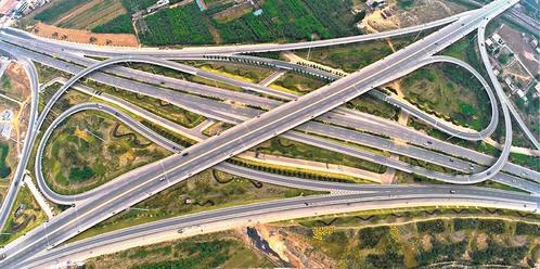 晋中市龙湖立交桥现状航拍图。