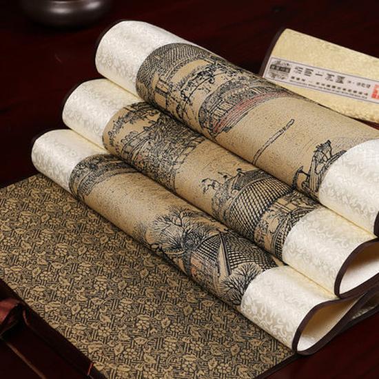 丝绸画清明上河图卷轴