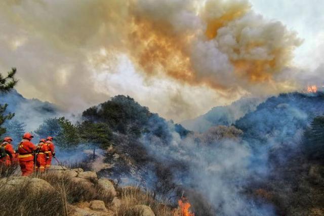 榆社山火:四路扑救力量发起总攻 直升机空中灭火