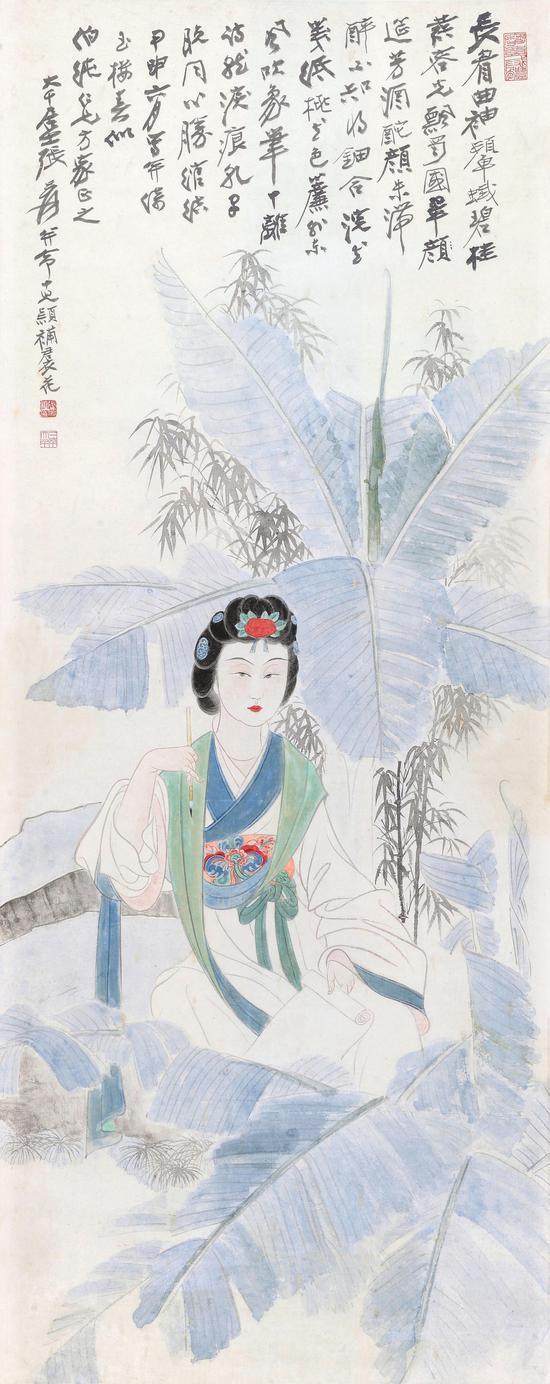 张大千《制笺图》 设色纸 立轴 153×60.5 cm 1944年作 说明:高岭梅旧藏