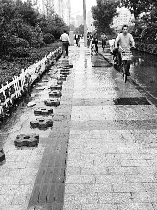污水流在路面上,行人得踩着石头过去。
