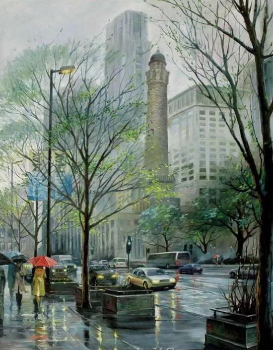 芝加哥春雨,布面油画,122x91cm