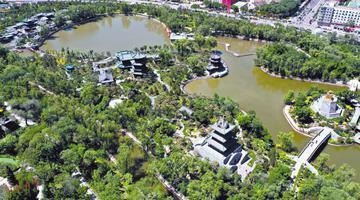 迎泽公园:绿翡翠缀在城中央