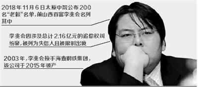 """太原中院6日公布200名""""老赖""""名单,前山西首富李兆会名列其中。"""