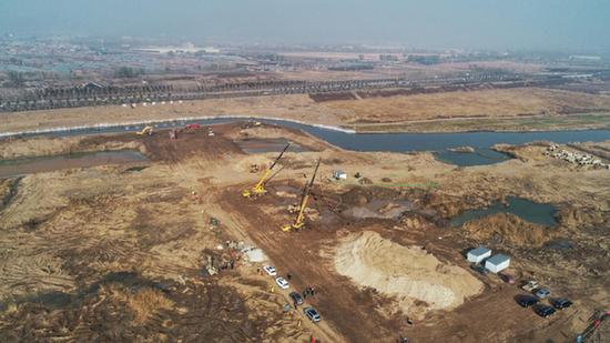 航拍汾河新二坝工程施工现场。
