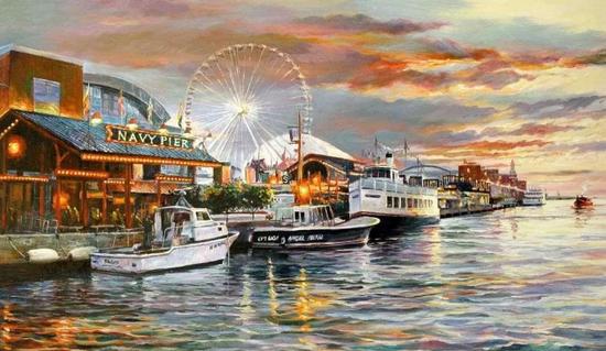 芝加哥海军码头,布面油画,76x102cm