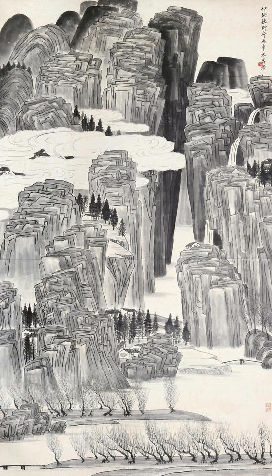 齐白石《云山深涧》 设色纸本 立轴 162×92cm