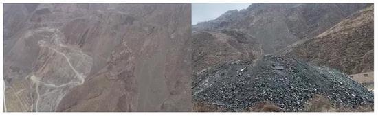 图4 臭冷杉省级自然保护区核心区内堆放大量尾矿砂等废渣 来源:生态环境部微信公众号