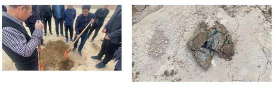 图5 督察人员在现场用铁锹直接挖出铅锌选矿废渣 来源:生态环境部微信公众号