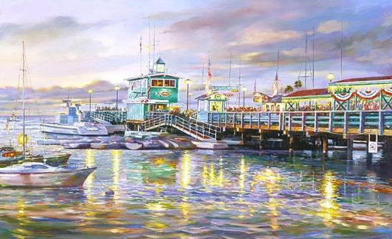 特琳娜码头日暮,布面油画,61x91cm