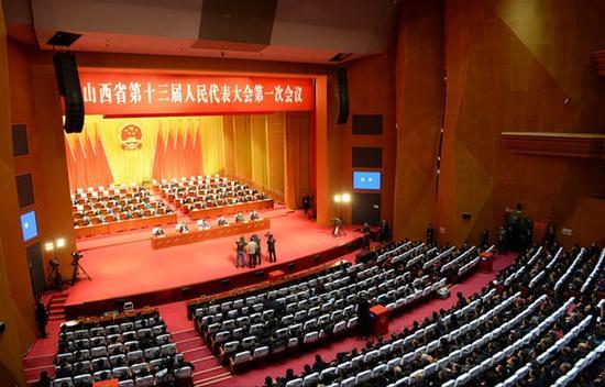 1月31日,省十三届人大一次会议举行第五次全体会议,图为大会会场。山西日报记者史晓波摄