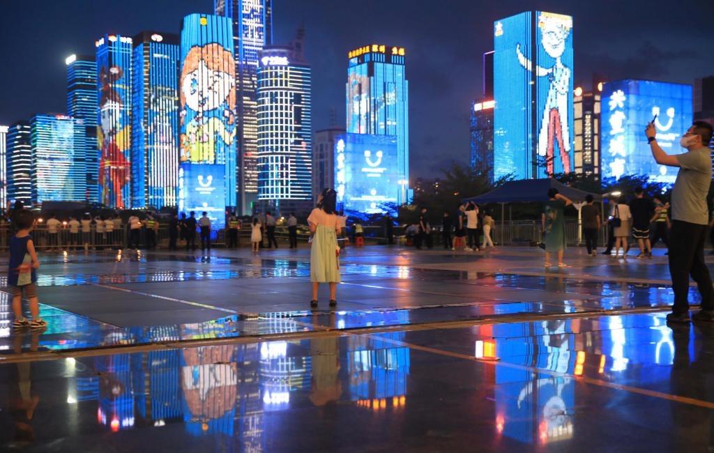 儿童版灯光展扮靓深圳夜空 深圳举办儿童节系列庆祝活动