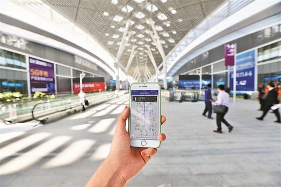 """▲体验""""深圳国际会展中心ShenzhenWorld""""小程序之导航功能。"""