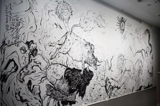 吴俊勇,《东山、西园、北国、南海》,尺寸可变,绘画,影像装置,2018