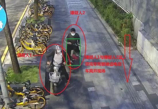 ▲嫌疑人骑走电动车。