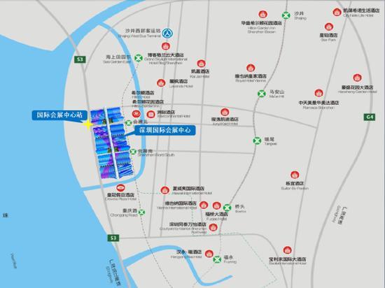▲国际会展中心站周边主要设施。