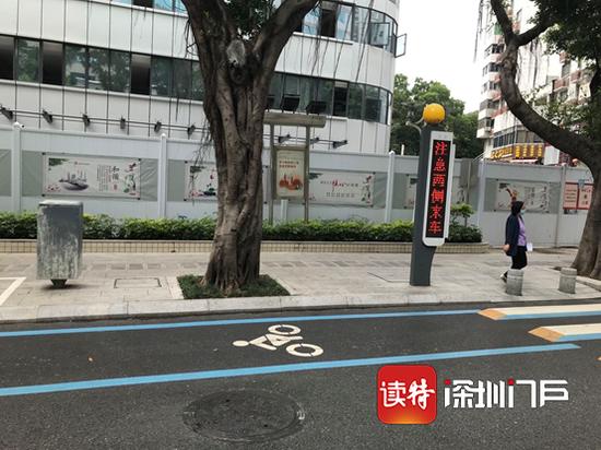 福田区莲花支路,是为数不多单独划出非机动车道的路段。
